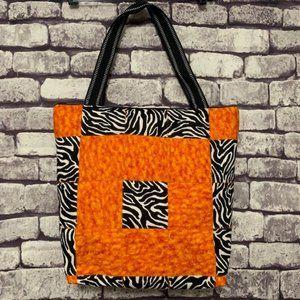 Handmade Quilted Large Orange & Black Tote Bag